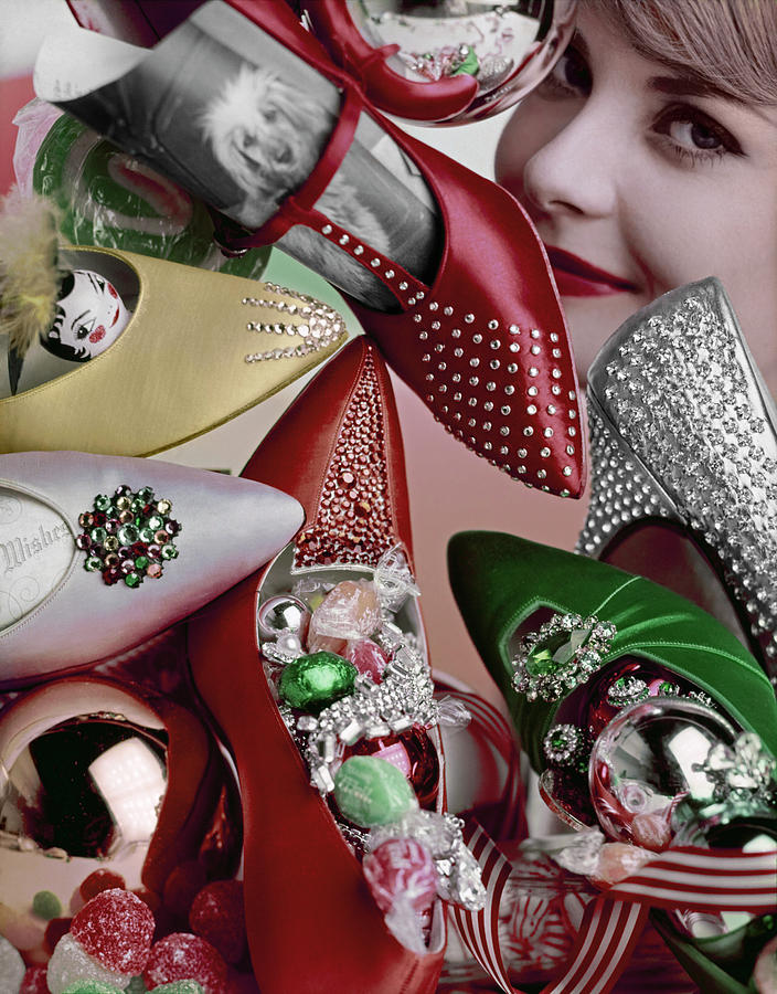A Model with Jeweled Shoes, Sweets, and Baubles Photograph by Lester Bookbinder