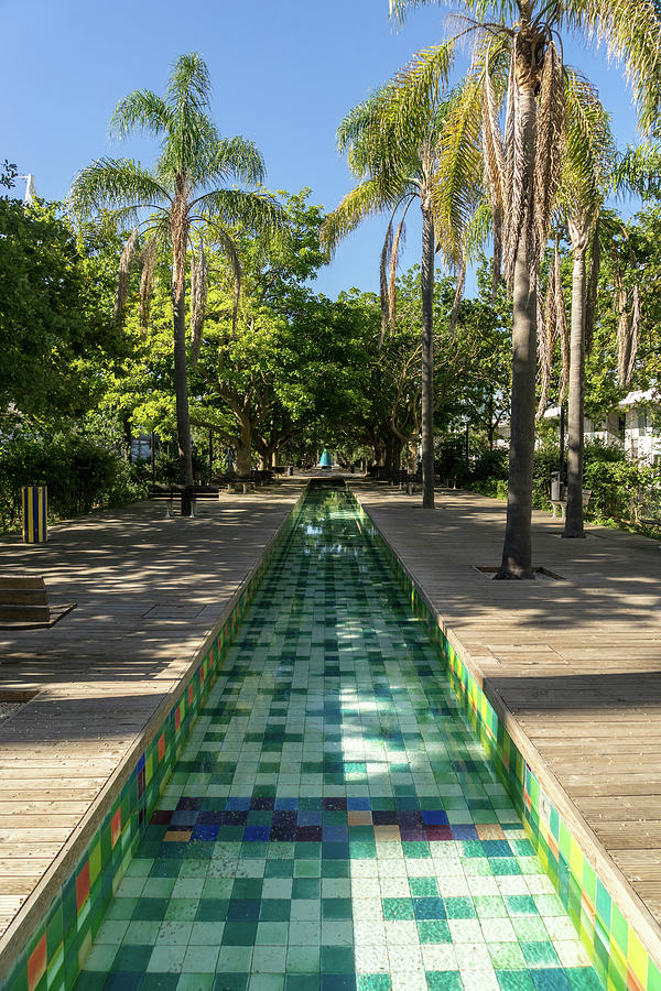 A Modern Take on Traditional Azulejos - Parque das Nacoes Reflecting Pool in Lisbon Portugal by Georgia Mizuleva