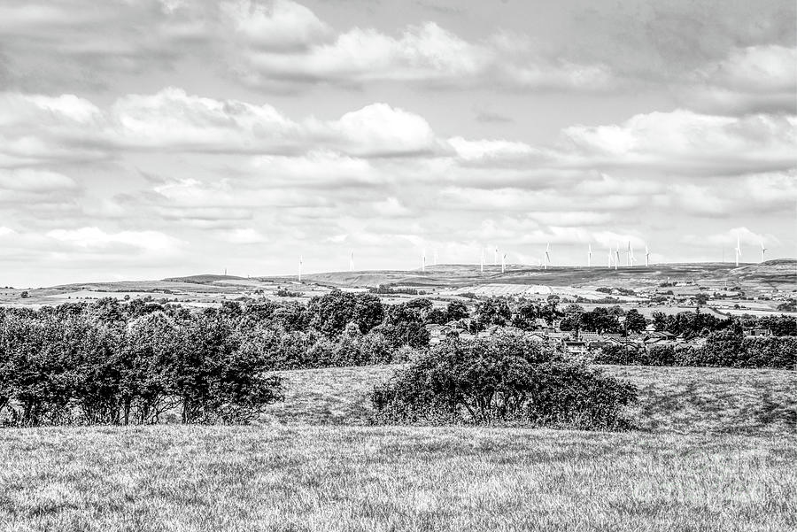 A Monochrome View Of The Scout Moor Wind Farm Looking From Heywood, Greater Manchester. Photograph