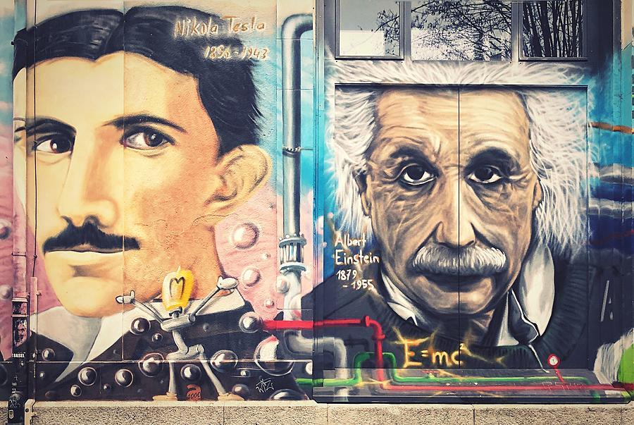 A mural of Nikola Tesla and Albert Einstein Photograph by M Mann