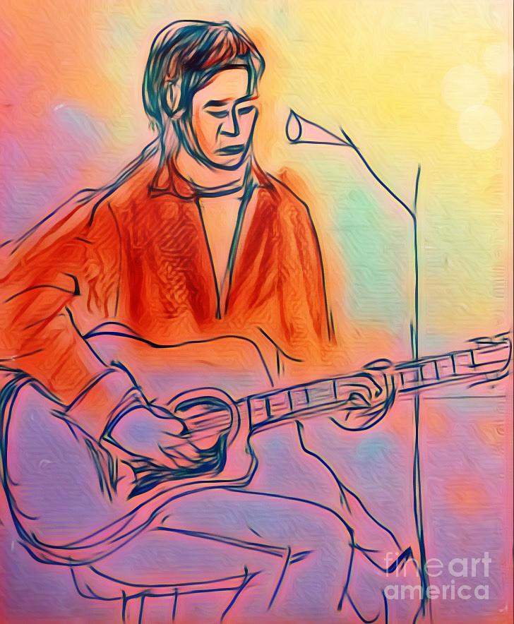 Artwork Digital Art - A Musician In Pastels by Karen Francis