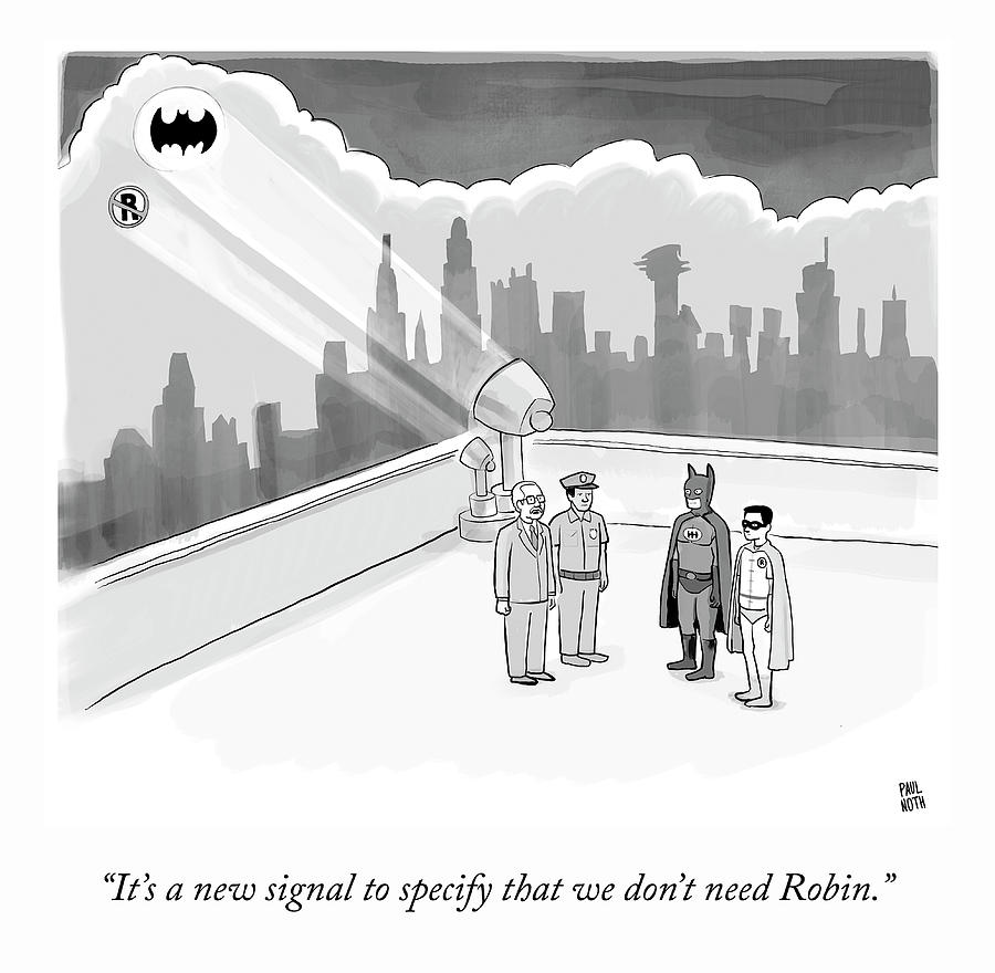 Robin Drawing - A New Signal by Paul Noth