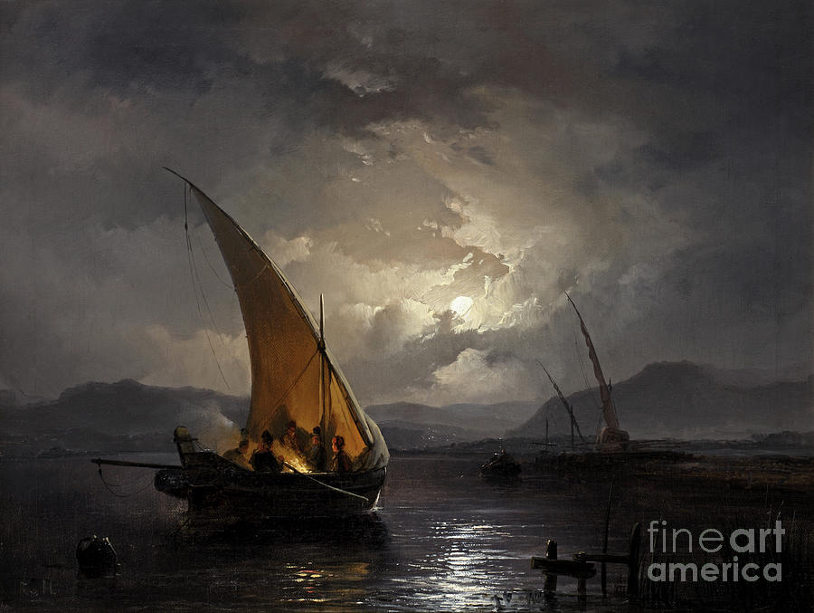 Evening Painting - A night landscape with a sailboat where a fire is being lit, by Remigius van Haanen