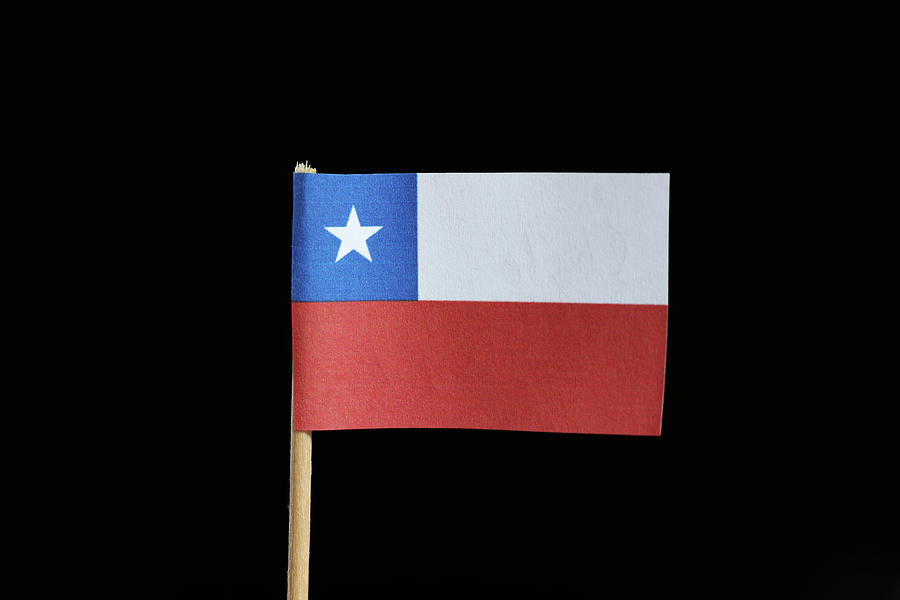A Official Flag Of Chile  On Toothpick On Black Background. A Horizontal Bicolor Of White And Red With The Blue Square Ended On The Upper With White Star Photograph