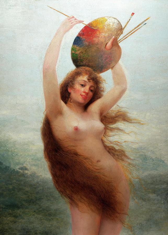 Almeida Painting - A Paint, Allegory by Almeida Junior
