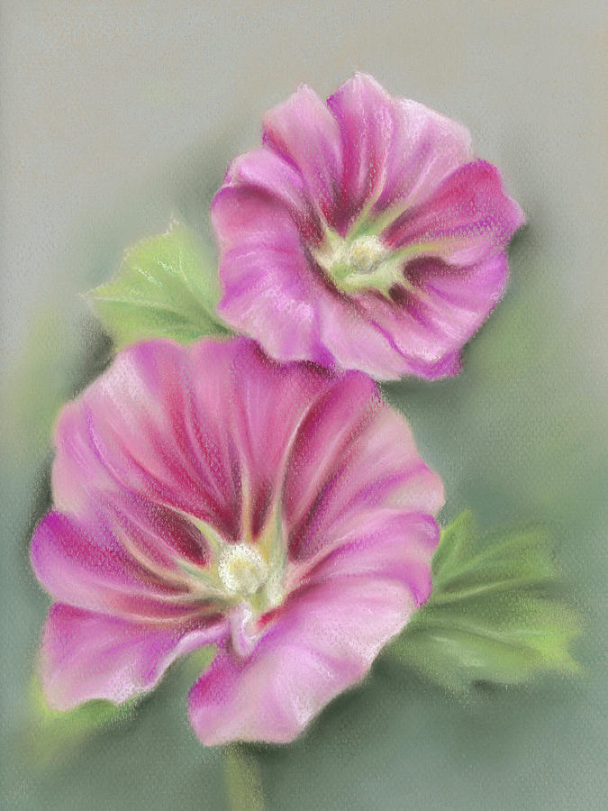 A Pair of Pretty Pink Hollyhocks by MM Anderson
