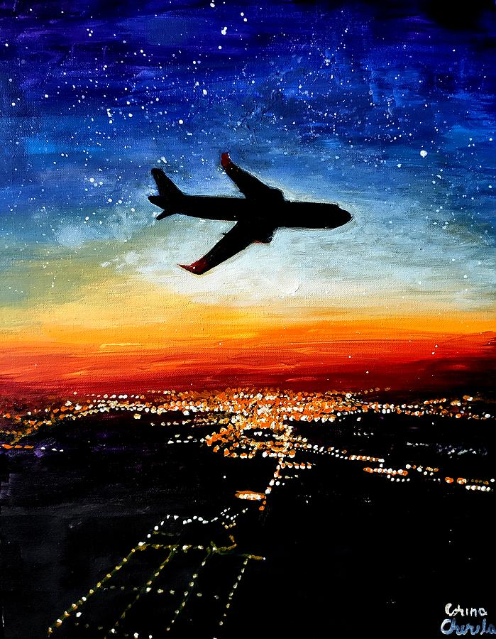 Plane Painting - A Plane Flying To Timisoara by Chirila Corina