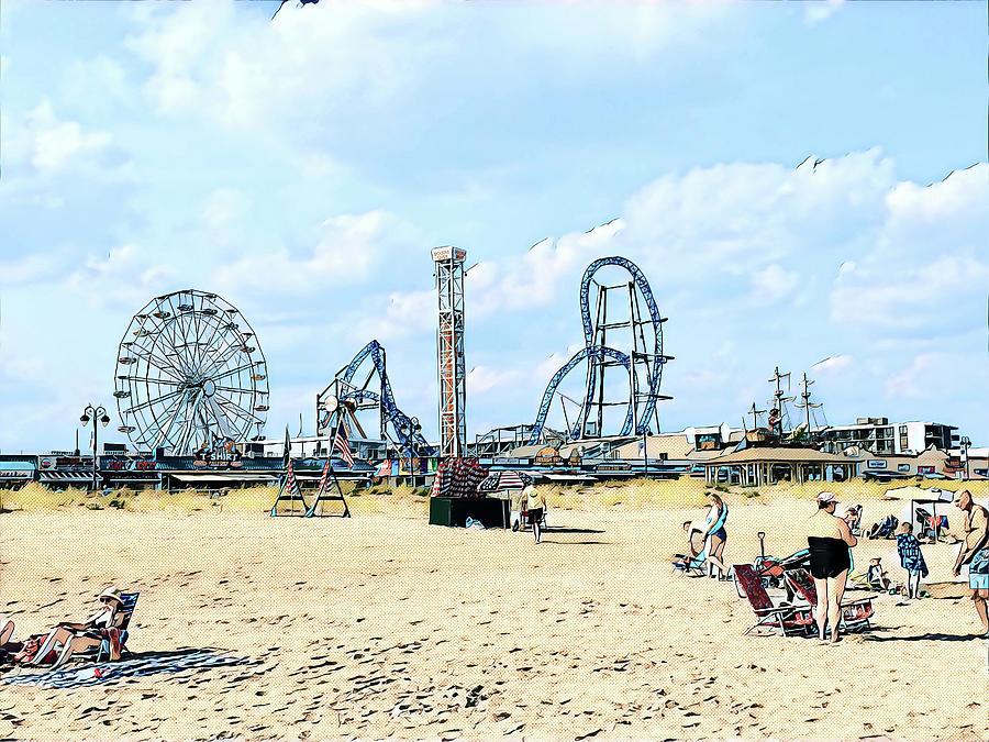 Amusements Digital Art - A Playland Skyline by Surreal Jersey Shore