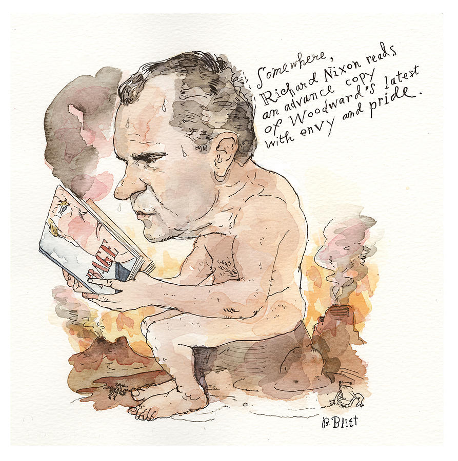A Presidential Review of Bob Woodwards Rage Painting by Barry Blitt
