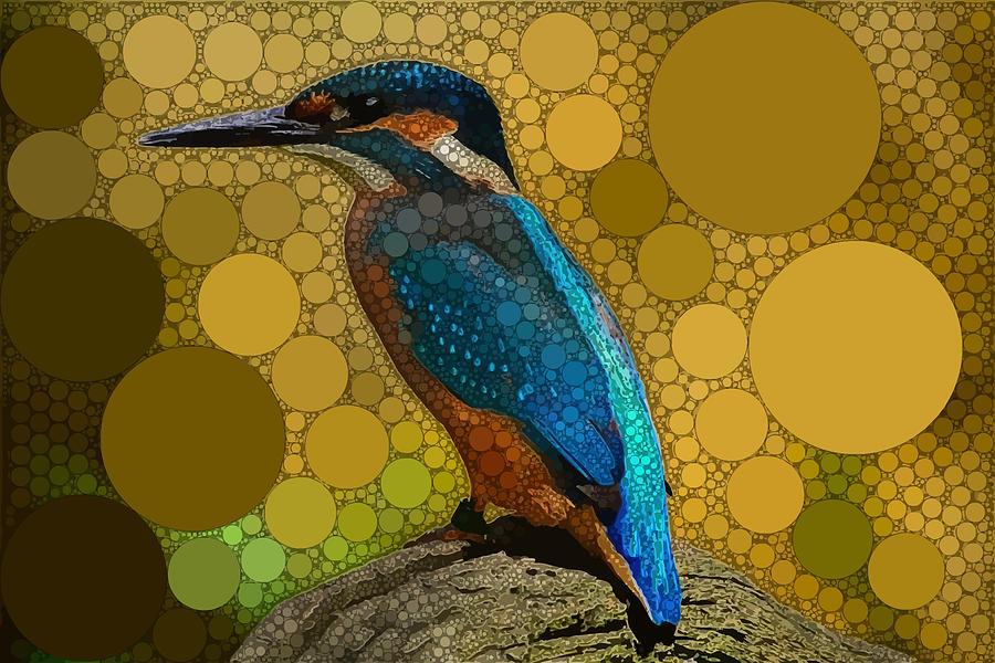 Blue Digital Art - A Quiet Kingfisher by Dahl Winters
