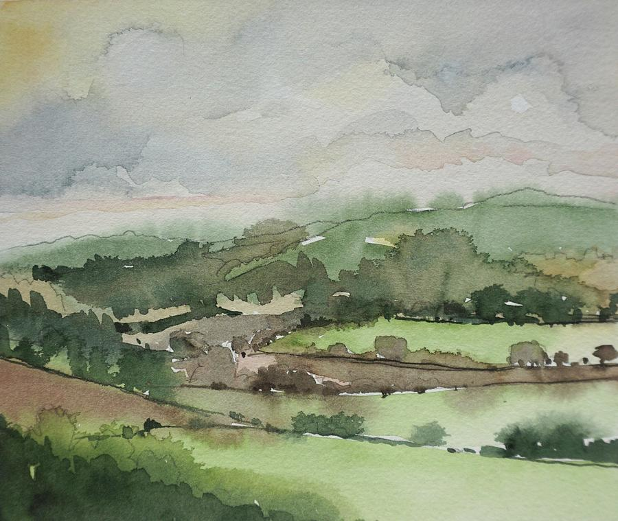 A Rainy Day On The Hills Painting