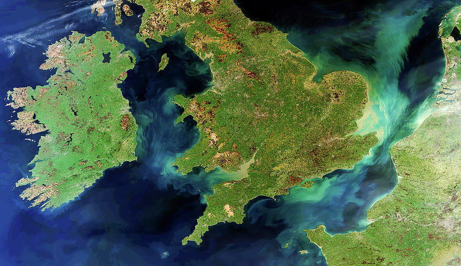A Rare Cloud-free View Of Ireland, Great Britain And Northern France Photograph