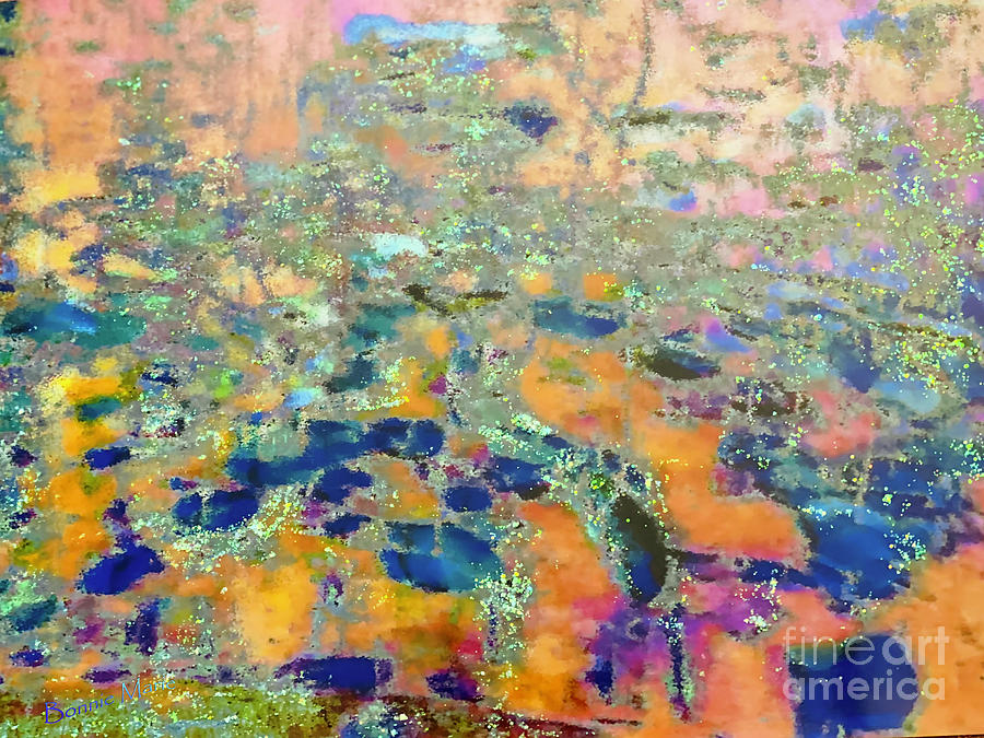 A Reflection Of Sunset Over The Lily Pond Painting