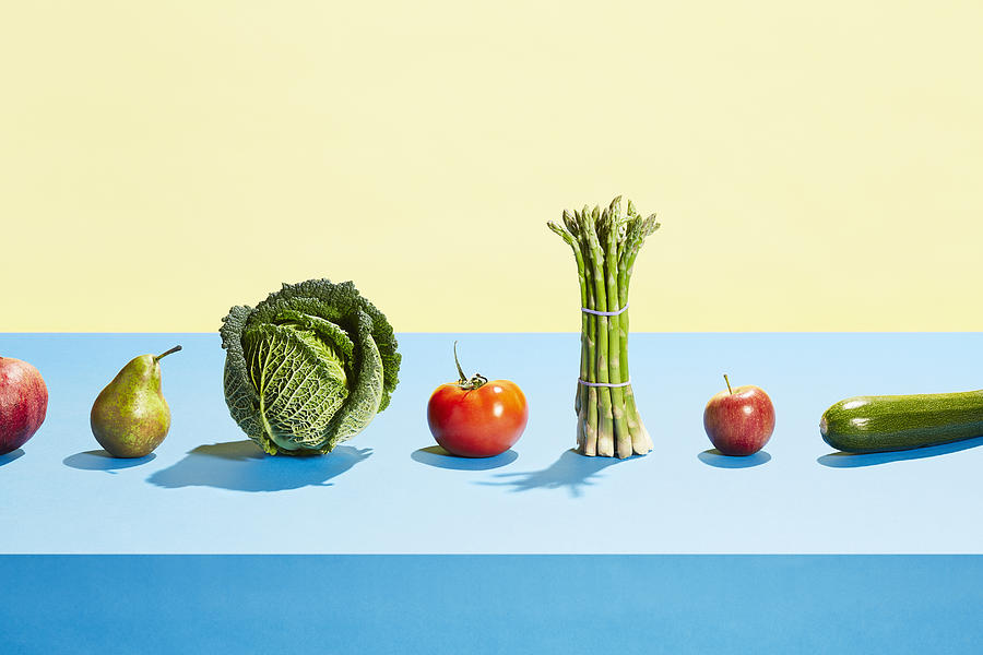 A row of different fruit and vegetables Photograph by Richard Drury