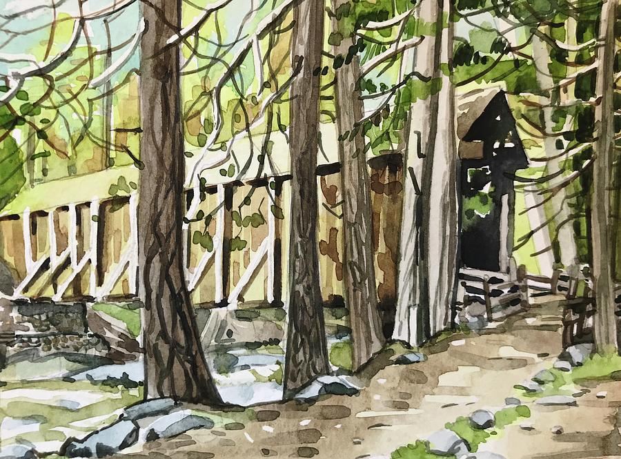 A Rustic Old Covered Bridge. Painting