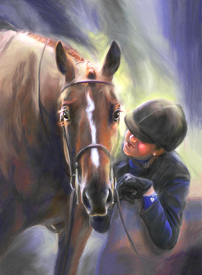 Horse Painting - A Secret Shared Hunter Horse With Girl by Connie Moses