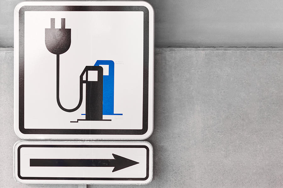 A sign on the parking showed a charging point for electric car. Photograph by Volodymyr Kalyniuk