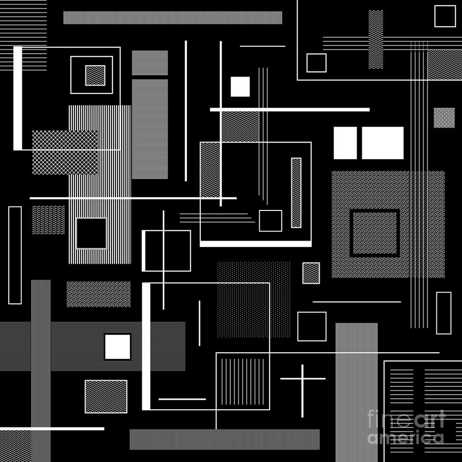 Black Digital Art - A Simple B W by Lady Ls Designs