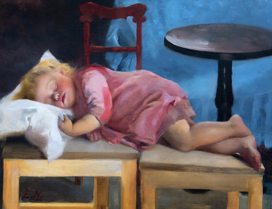 Sleeping Child Painting - A Sleeping Child by Elin Nordlund