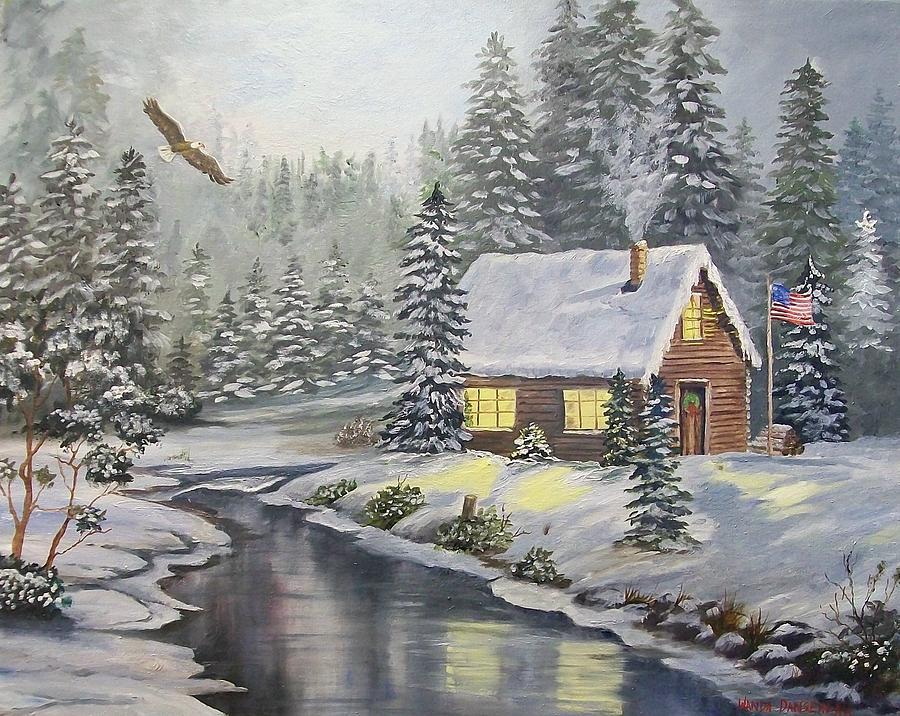 Christmas Painting - A Snowey Mountain Christmas by Wanda Dansereau