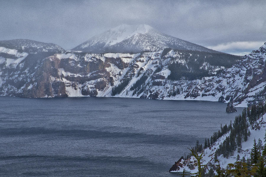 A Snowy Day At Crater Lake Photograph