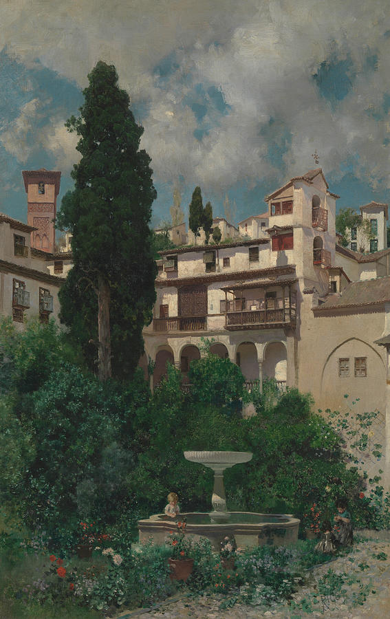 Trees Painting - A Spanish Garden by Martin Rico y Ortega