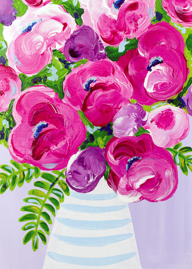 Abstract Floral Painting - A Touch of Violet by Beth Ann Scott