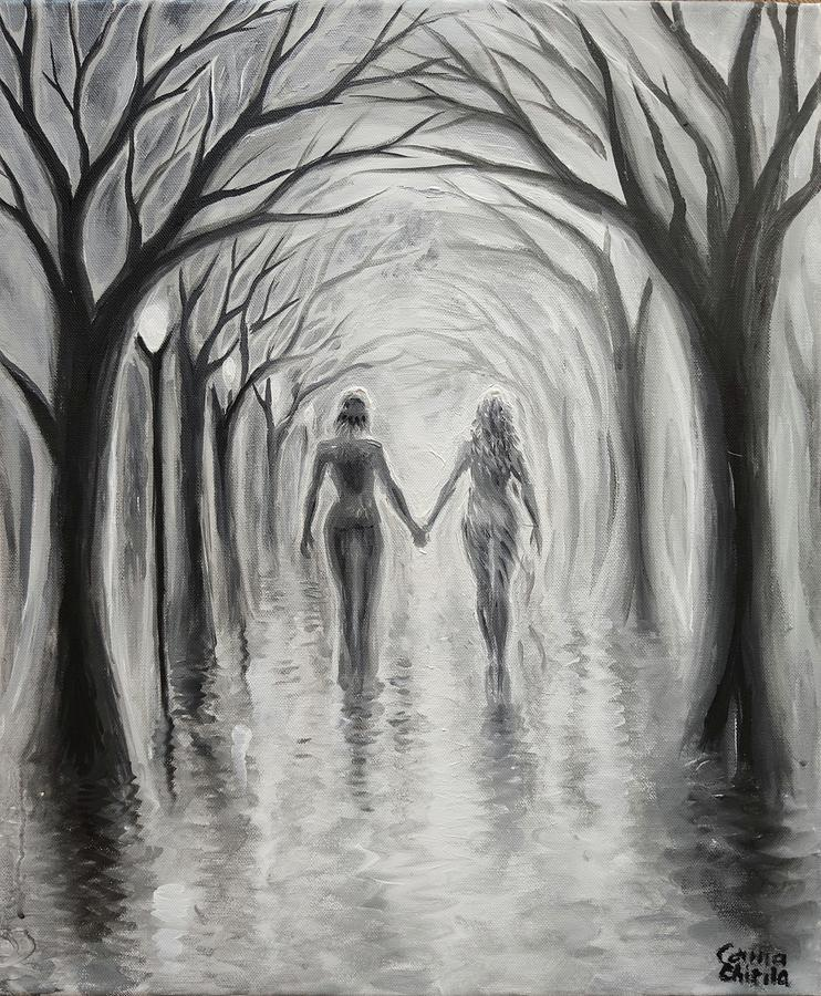 Lovers Painting - A walk to remember duting a rainy day by Chirila Corina