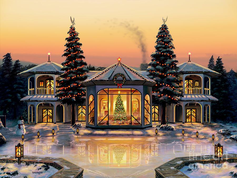 Christmas Painting - A Warm Home For The Holidays by Stu Shepherd