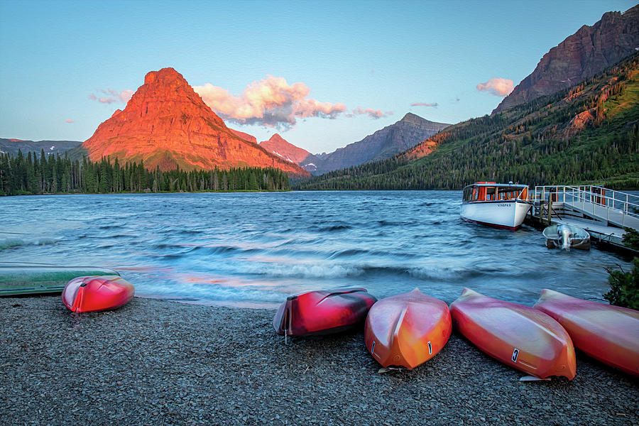 A Windy Morning on Two Medicine Lake  by Harriet Feagin
