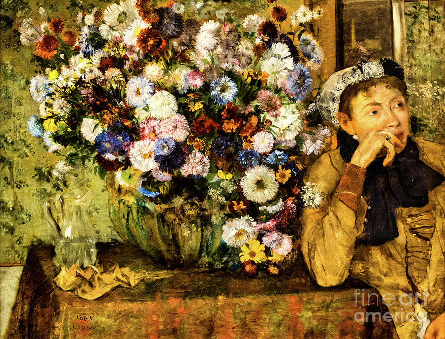 A Woman Seated Beside a Vase of Flowers by Degas by Edgar Degas