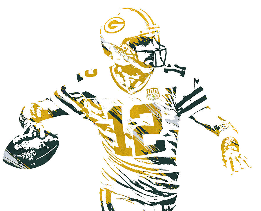 AARON RODGERS GREEN BAY PACKERS WATERCOLOR STROKES PIXEL ART 4 by Joe Hamilton