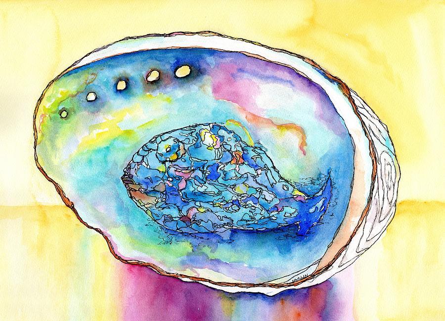 Shell Painting - Abalone Shell Reflections by Carlin Blahnik CarlinArtWatercolor