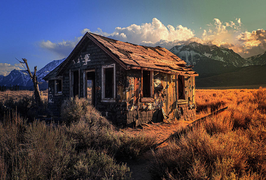 Abandoned Cabin At Sunset Photograph