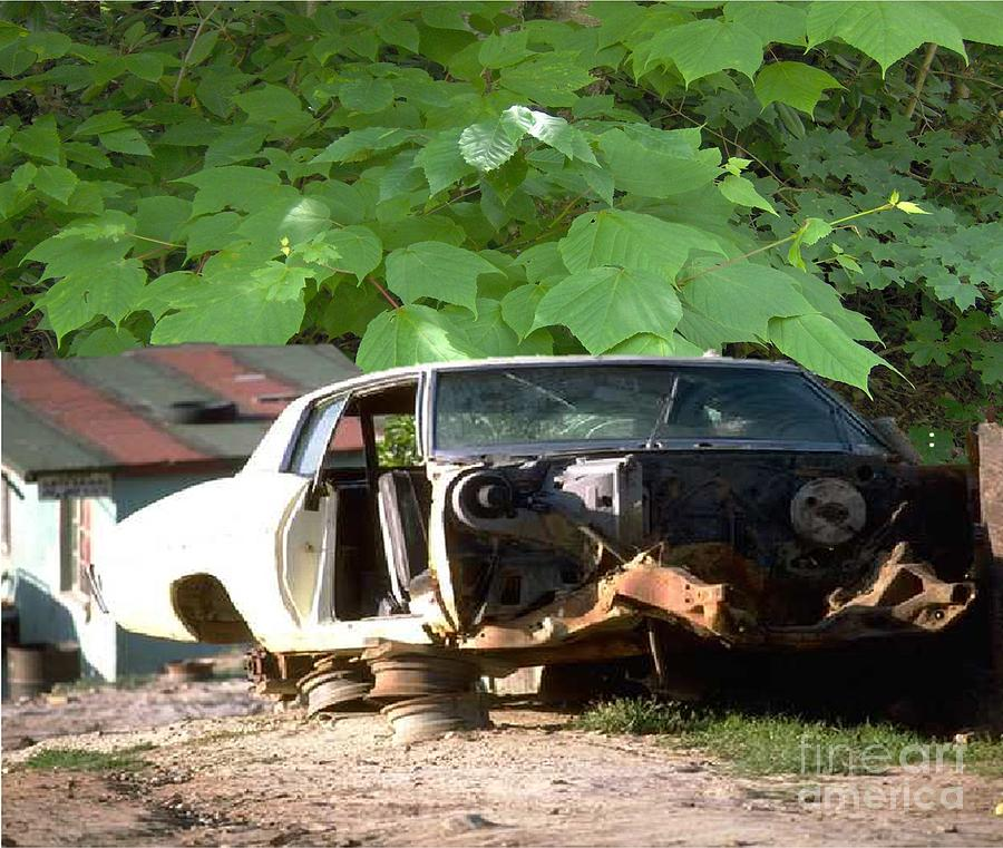 Abandoned Car And Dilapidated House Photograph