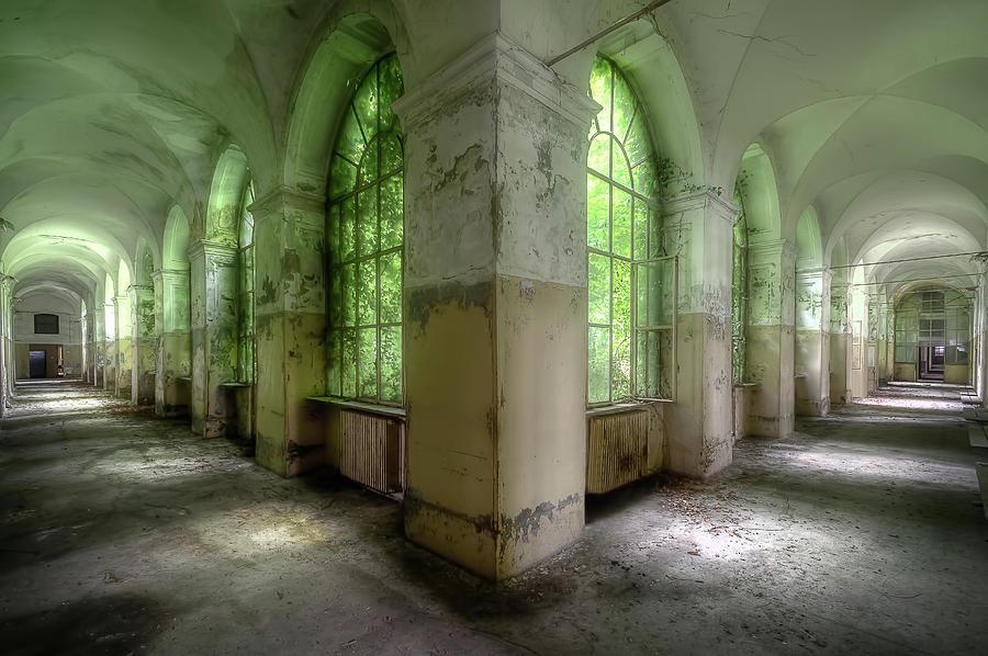 Abandoned Green Hallway by Roman Robroek