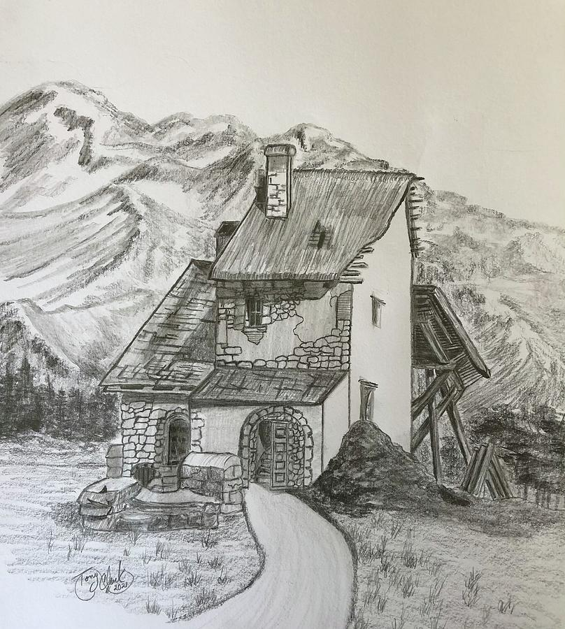 Abandoned In The Alps Drawing