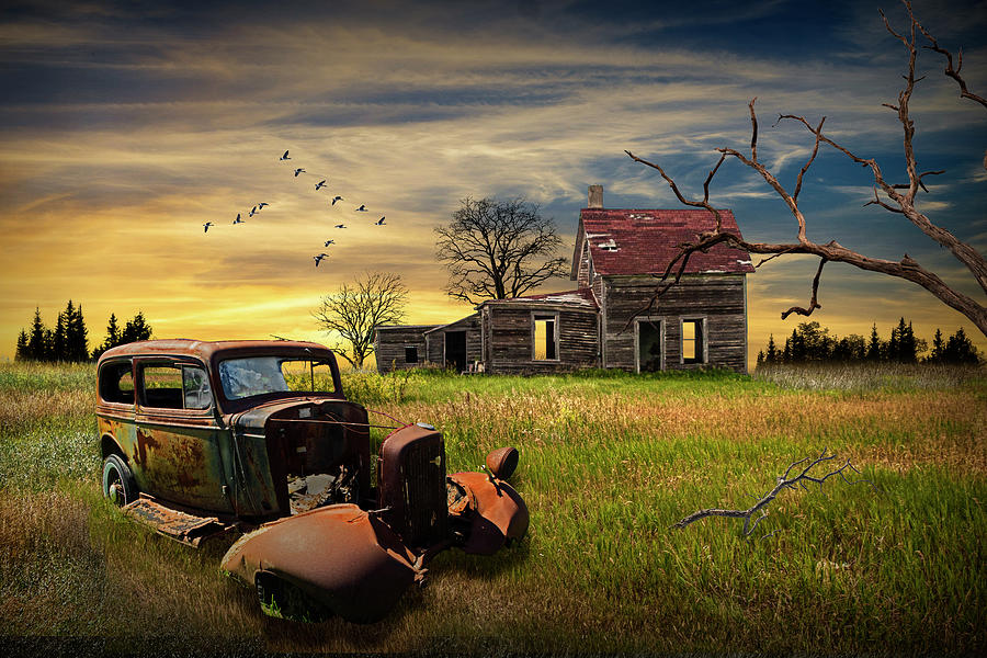 Abandoned Junk Auto And Farm House At Sunset Photograph