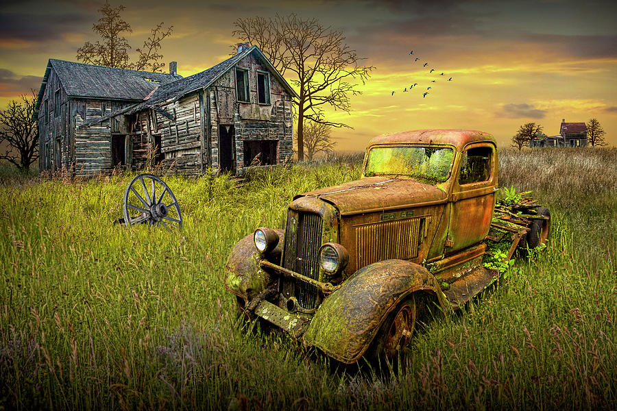 Abandoned Pickup Truck And Farm House At Sunset Photograph