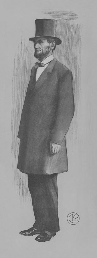 Abe Lincoln Full Length Portrait Drawing