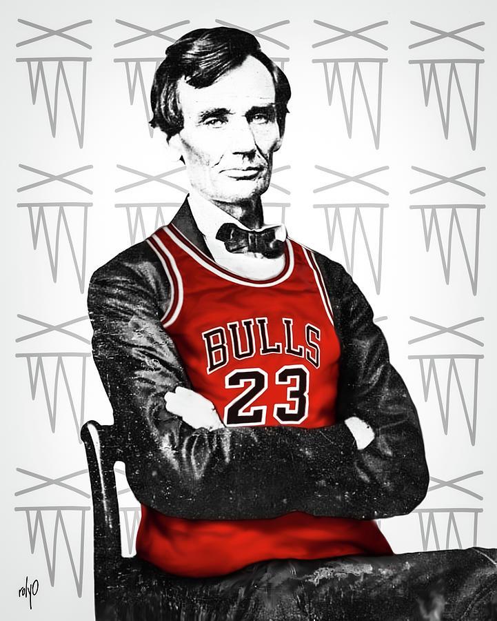 Zeeko Painting - Abe Lincoln In A Michael Jordan Bulls Jersey by Zeeko Tribe