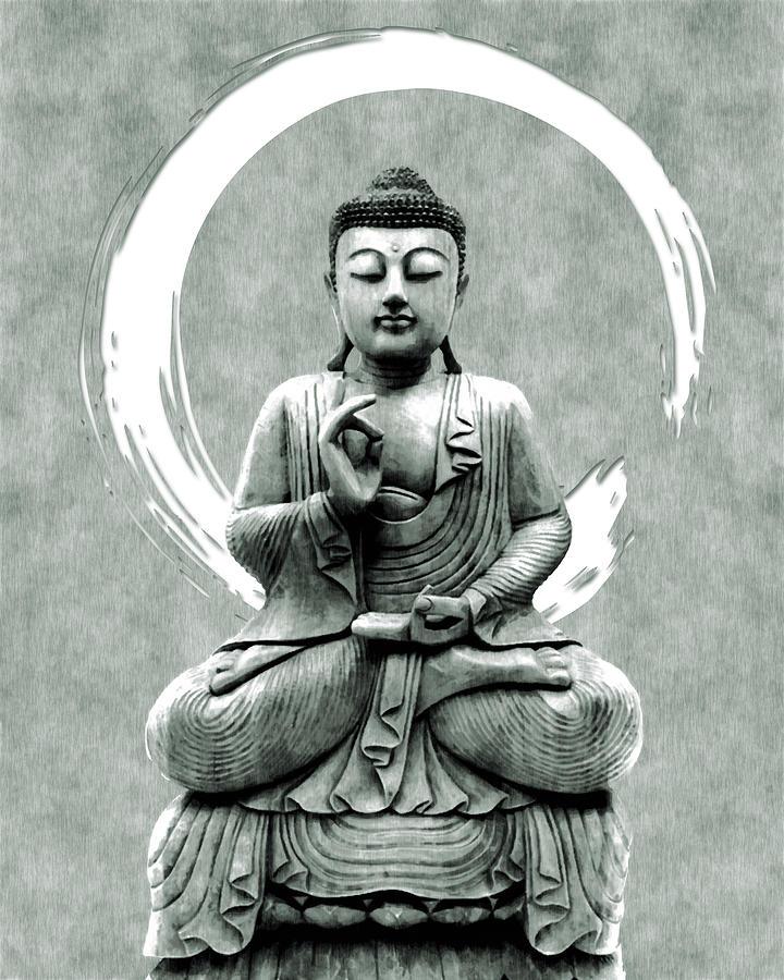 Abhaya Mudra 01 - Buddha In Meditation Mixed Media