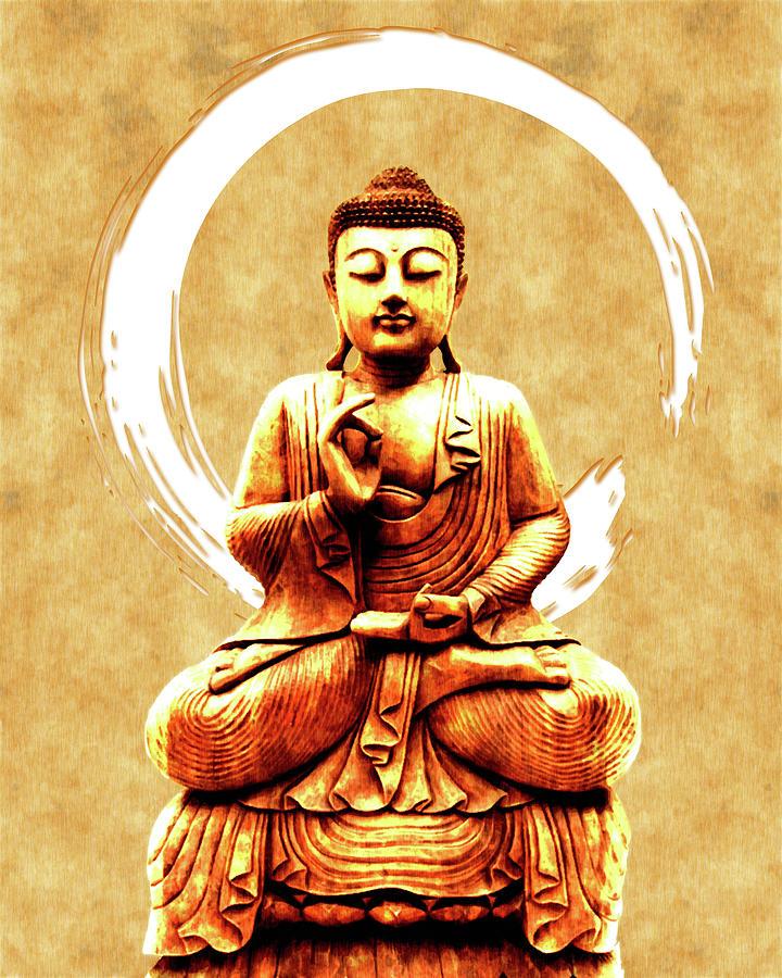 Abhaya Mudra 03 - Buddha In Meditation Mixed Media