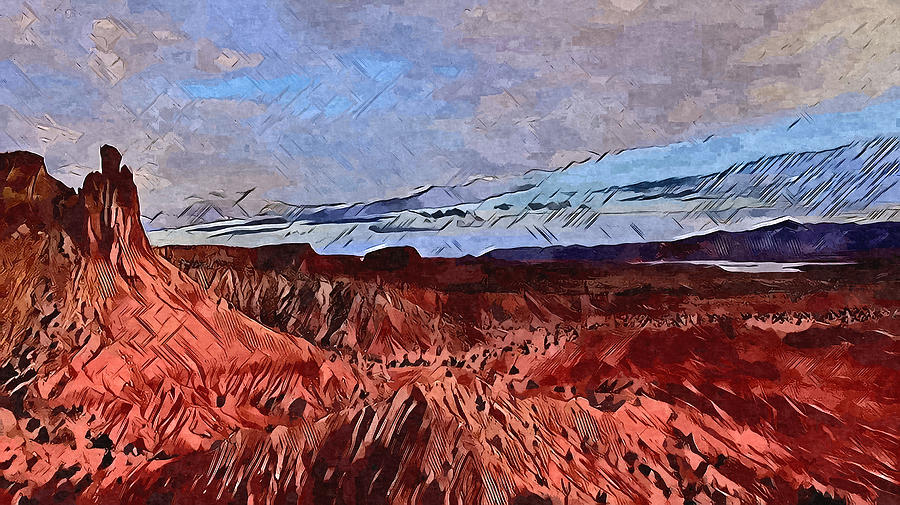 Abiquiu Cliffs Digital Art by Aerial Santa Fe