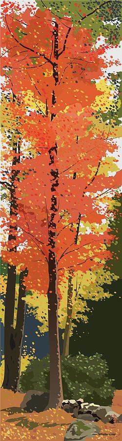Autumn Digital Art - Ablaze by Marian Federspiel