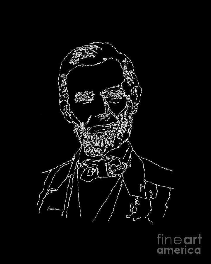 Braham Painting - Abraham Lincoln Drawing on black by Hailey E Herrera