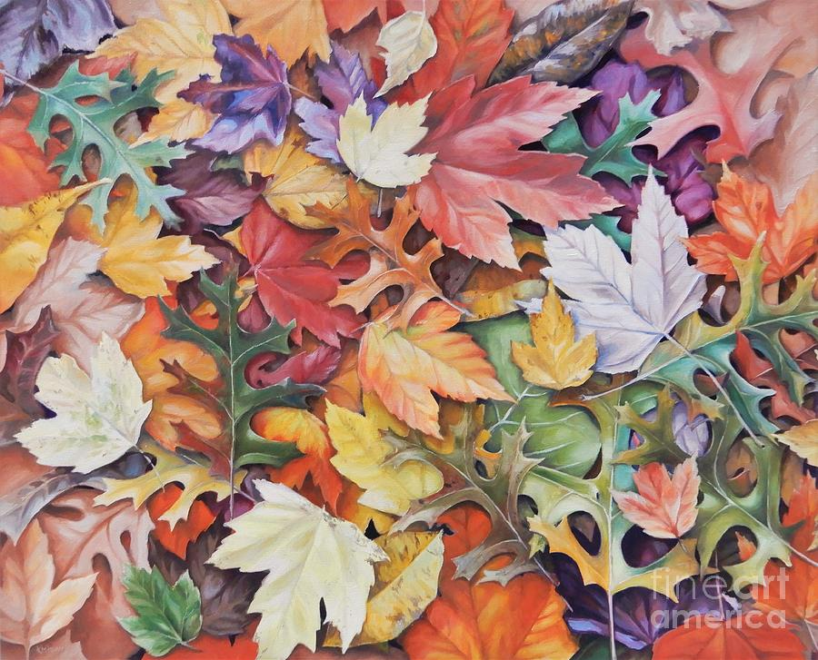 Leaves Painting - Abstract Autumn by K M Pawelec