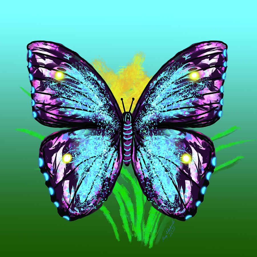 Abstract Blue And Purple Butterfly Digital Art