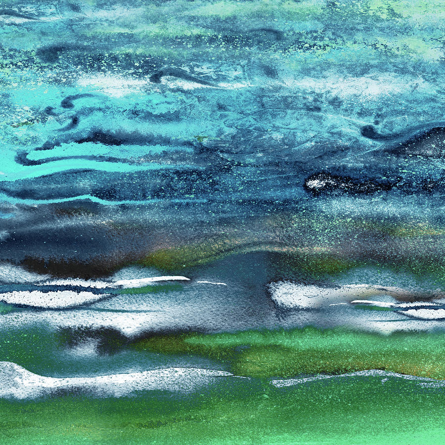 Abstract Blue Turquoise Emerald Ocean Waves Watercolor Seascape Painting