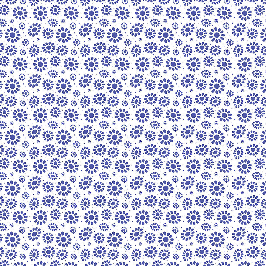 Abstract Blue White Floral Pattern Digital Art By Bridget